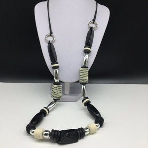 Chico's Black Cream Silver Chunky Beaded Necklace